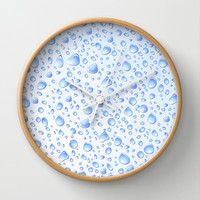 Clear Water Drops Pattern Wall Clock by Bluedarkat Lem