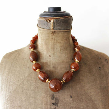 Large Amber  Bead Necklace - Chunky Amber Bead Necklace - Chunky Brown Bead Necklace - Chunky Necklace - Amber Gold Necklace