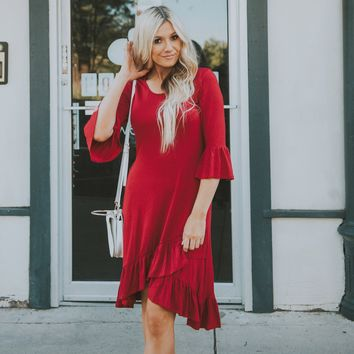 Luxe Ruffle Bottom and Sleeve Dress | Modest Dresses