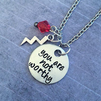You Are Not Worthy Necklace - Superhero Jewelry - Avenger Jewelry - Thor Inspired Jewelry - Fandom Jewelry