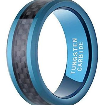 CERTIFIED 8mm Blue Plated Tungsten Ring with Black Carbon Fiber Inlay Wedding Bands