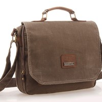 Kattee Vintage Canvas Crossbody Messenger Shoulder Bag Tote with Real Cow Leather Gray