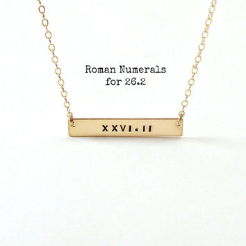 Half Marathon Jewelry Running Jewelry Marathon Roman Numeral Necklace Runners Gifts for Runners Gold Bar Necklace Roman Numeral Necklace