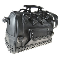 Goth Punk Rock Large Brass Knuckles Handles Black Satchel Handbag