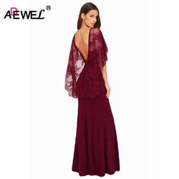 ADEWEL 2018 Women Sexy Deep V Cut Open Back Maxi Party Dress Elegant Lace Cape Sleeve Formal Long Dresses