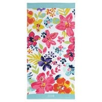 Aqua Floral Beach Towel