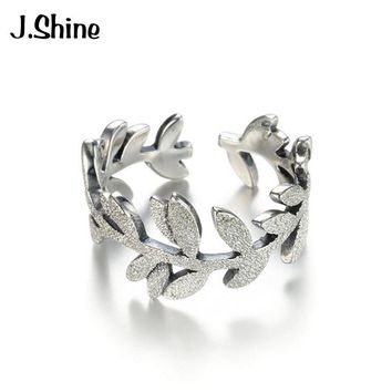 JShine Genuine Sterling Silver Leaves Finger Ring Dazzling Delicate Plant Ring For Women Wedding Silver 925 Jewelry