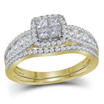 14kt Yellow Gold Womens Princess Diamond Halo Bridal Wedding Engagement Ring Band Set 1.00 Cttw