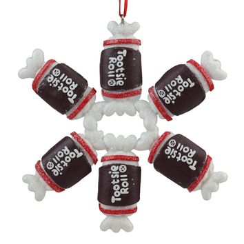 "4"" Tootsie Roll Original Chewy Chocolate Candy Claydough Christmas Snowflake Ornament"