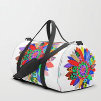 Mandala flower Veta Duffle Bag by Azima