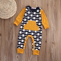 Newborn Baby Girls Boys Clothes Long Sleeve Jumpsuit Romper Casual Cotton Clothing Warm Autumn 0-18M