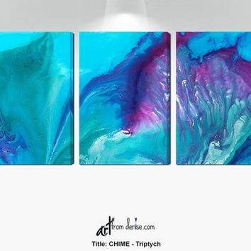 Aqua Purple Watercolor art, Large abstract 3 panel canvas set, Bedroom wall art, Dorm room decor, Teal Turquoise Navy Blue Plum