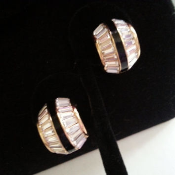 Christian Dior Rhinestone Earrings, Designer Signed Haute Couture Vintage Jewelry, 1970's 1980's, Old Hollywood Glamour