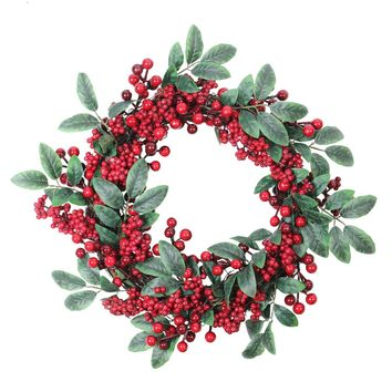 "18"" Artificial Lush Red Berry and Deep Green Leaf Decorative Christmas Wreath - Unlit"