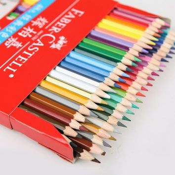 Colored 12/24/36/48 Colors Wooden color Drawing Pencils Set Free Sharpener