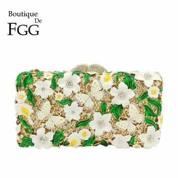 Boutique De FGG Green White Flower Butterfly Women Evening Bags Crystal Box Minaudiere Purse Bridal Handbag Wedding Party Clutch