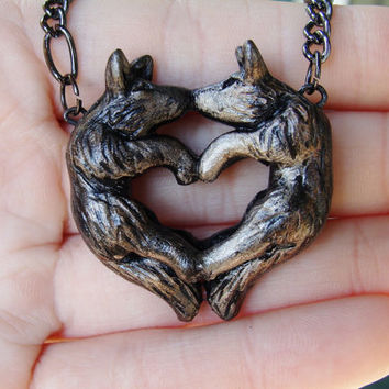 Wolf Love Necklace Heart Kissing Couple Grey Black Pendant Charm Cute Polymer Clay