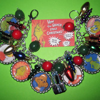 How The Grinch Stole Christmas Charm Bracelet Jewelry OOAK Altered Art Statement Piece Cindy Lou Max Ornaments Gifts Lights