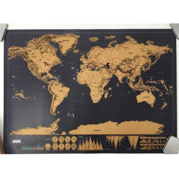 Deluxe World Map Poster with Foil Layer Coating - Scratch as you go!