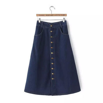 Stylish High Rise Denim Skirt Women's Fashion Prom Dress [4919031428]