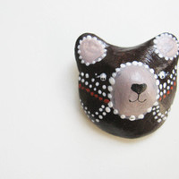 Dark painted bear  Bear brooch Animal totem Cute kids brooch