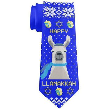 ICIKJY1 Llama Llamakkah Ugly Hanukkah Sweater All Over Neck Tie