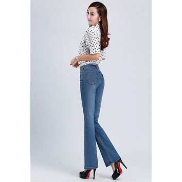 Free Shipping 4-color High Quality Promotion Women's Boot Cut Jeans Mid High Waist  Flare Pants Girls Trousers Plus Size 26-36