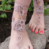 TAN ROSES    handmade beautiful barefoot sandals in brown-tan color