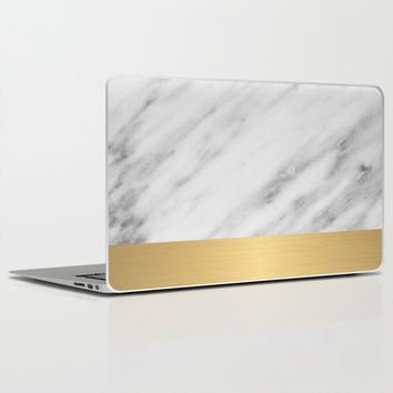 Carrara Italian Marble Holiday Gold Edition Laptop & iPad Skin by cafelab