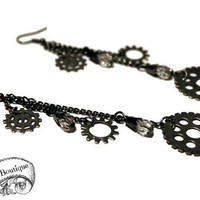 Steampunk Earrings - Industrial Chic - Dangle, Gears, Chain - Cog Jewelry, Long, Drop - Gifts Under 20