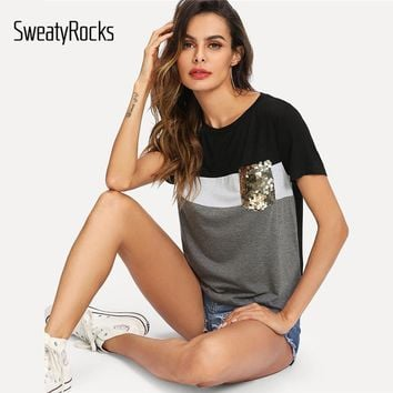 SweatyRocks Colorblock Sequin Pocket Tee Streetwear Short Sleeve Shirt Women Pullover Tops 2019 Summer Casual Stretchy T-shirt