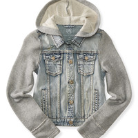 Kids' Pieced Destroyed Hooded Denim Jacket