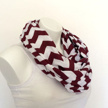 Burgundy and White Chevron Jersey Infinity Scarf, Teen, Women Loop Scarf