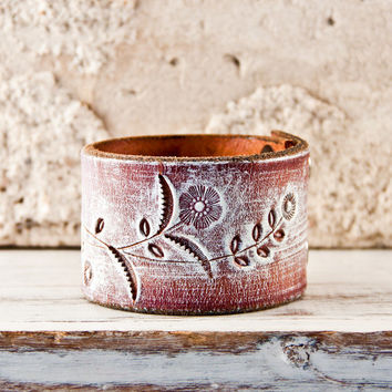Wristband Cuff Bracelet Tooled Leather Western by rainwheel