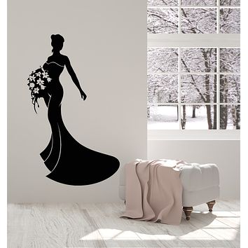Vinyl Wall Decal Lady Ball Dress Boutique Flowers Bouquet Stickers Mural (g1612)