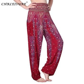 838bc19601e CHLEISURE 10 Colors Summer Beach Bohemian Pants Women High Waist