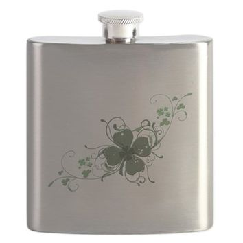 ELEGANT SHAMROCK DESIGN.PNG FLASK