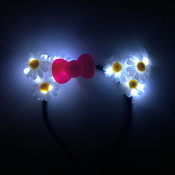 LED Cat Ears LED Kitten Ears Hello Kitty Kitten headband Flower crown LED Headband for rave Music Festival disney rave outfit