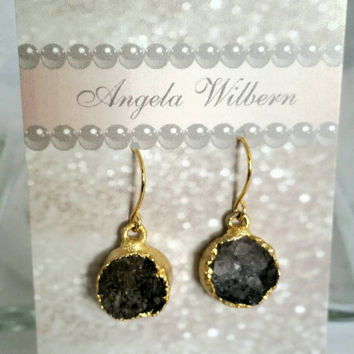 Black druzy earrings, dark grey druzy earrings, 14 Karat gold plated druzy,