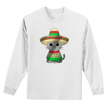 Sombrero and Poncho Cat - Metallic Adult Long Sleeve Shirt by TooLoud
