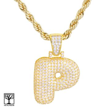 "Jewelry Kay style P Initial Custom Bubble Letter Gold Plated Iced CZ Pendant 24"" Chain Necklace"