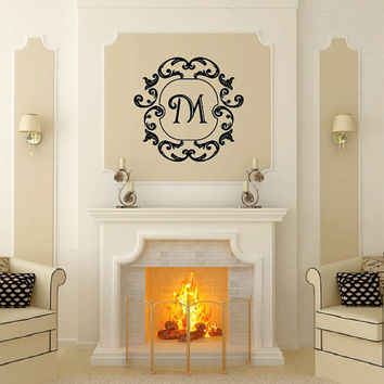 Wall Decal Monogram Damask Frame Style A Vinyl Wall Decal 22505