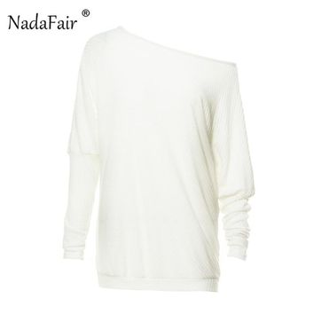 Nadafair batwing sleeve off shoulder knitted sexy t shirt women tees autumn winter long sleeve loose casual tops female tshirt