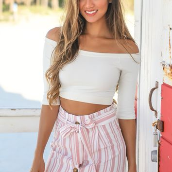 Misty Pink Striped Skirt with Buttons