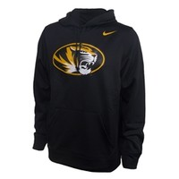 Mizzou Nike Oval Tiger Head Therma-Fit Black Hooded Sweatshirt