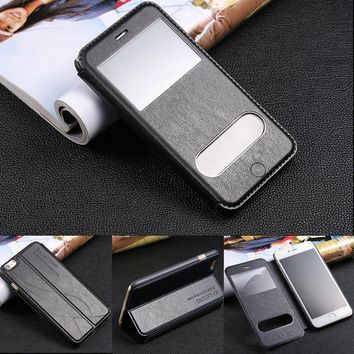 Luxury Window View Leather Case For iphone 8 Plus 5 5s SE 6 6s 7 Cover Lamb Painted Flip Fundas Phone Cases Pouch