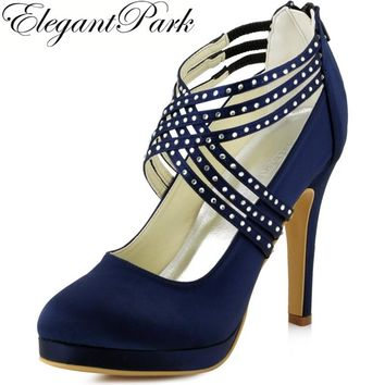 Women High Heel Shoes Wedding Platform Navy Blue Cross Strap crystal Satin prom  party Bridal Pumps a41f5cc96cb2
