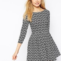 Pull&Bear Knitted Skater Dress in Print