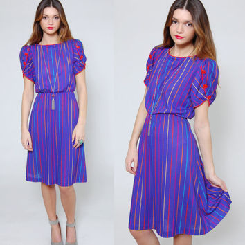 Vintage 80s STRIPE Secretary Dress Purple RAINBOW Striped Blouson Dress Short Sleeve Midi Dress