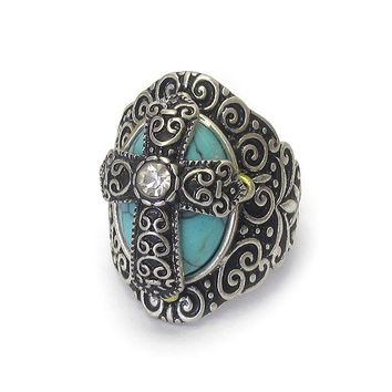 Genuine Stone Metal Textured Cross Stretch Ring